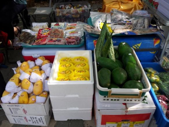 manga, papaya e limão verde